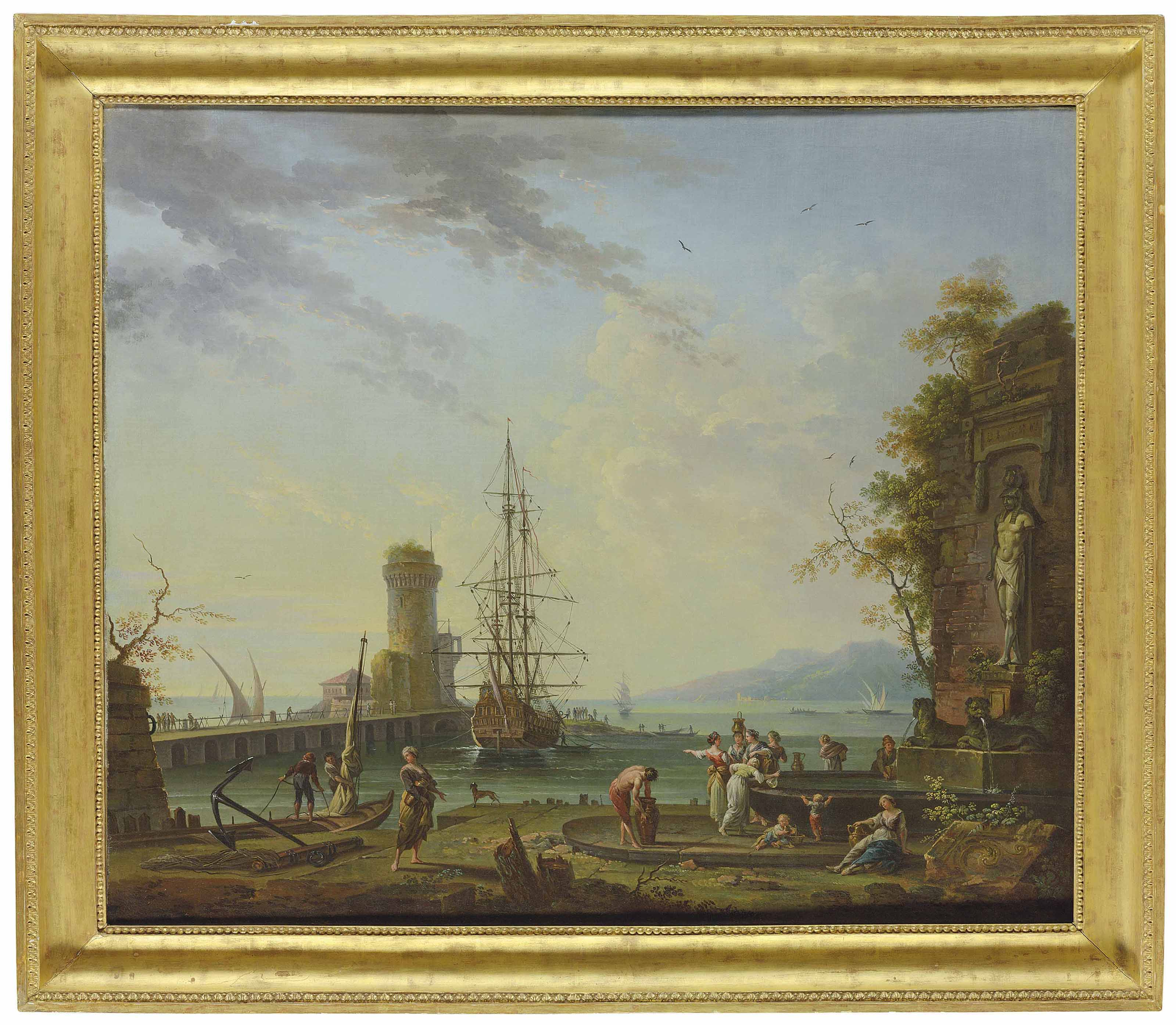 A Mediterranean port with washerwomen and figures at a fountain