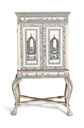 AN ANGLO-INDIAN ENGRAVED IVORY CABINET-ON-STAND