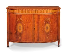 A GEORGE III PADOUK, INDIAN ROSEWOOD, TULIPWOOD-BANDED AND M