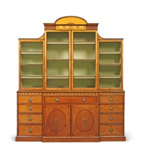 A GEORGE III SATINWOOD, AMARANTH, EBONISED AND MARQUETRY BRE