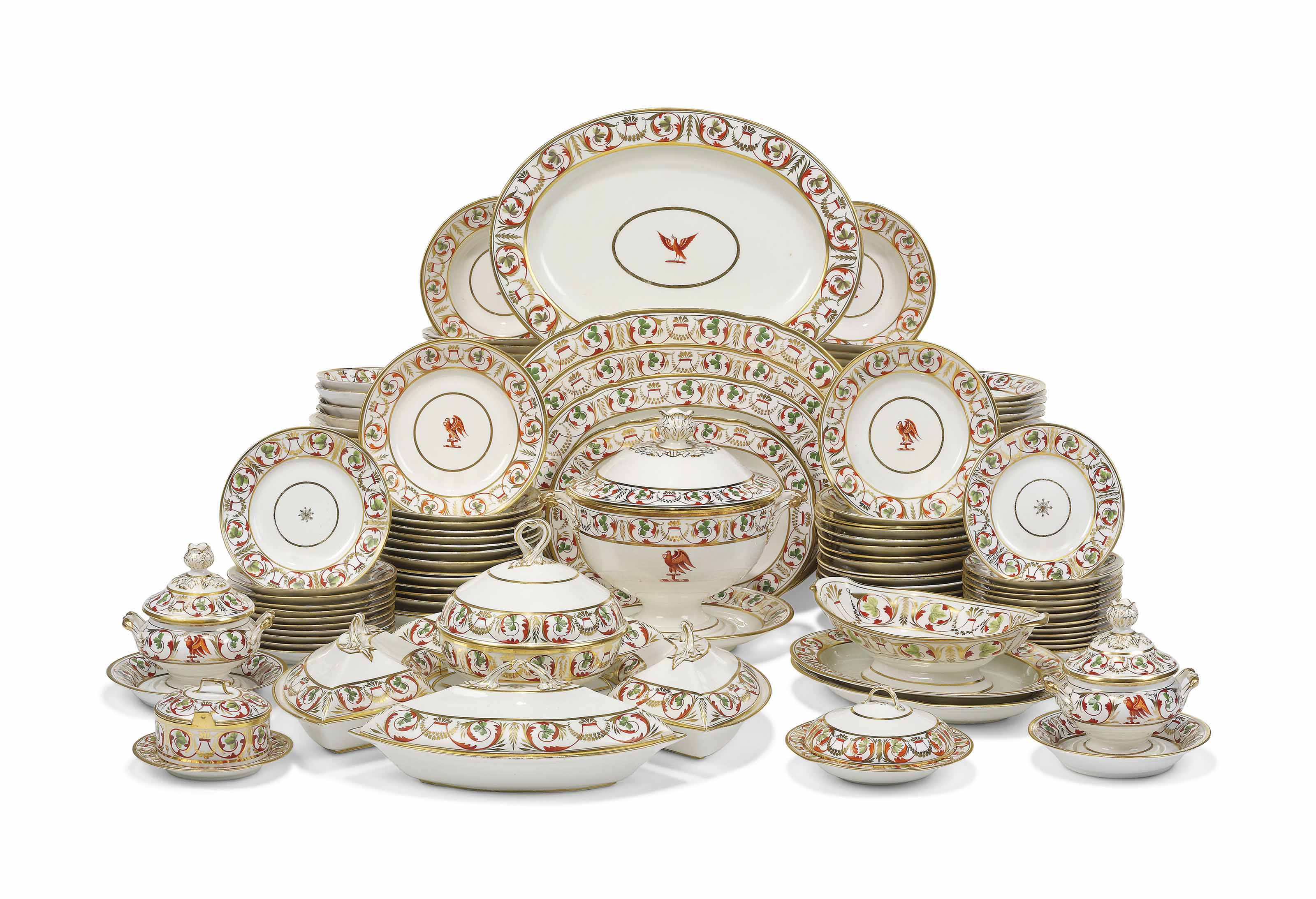 A Derby porcelain composite part dinner service, circa 1815. 19¾ in (50.2  cm) wide, the largest platter. Sold for £16,250 on 13 June 2018 at Christie's in London