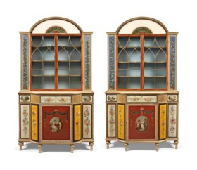 A PAIR OF GEORGE III POLYCHROME-PAINTED AND PARCEL-GILT SATI