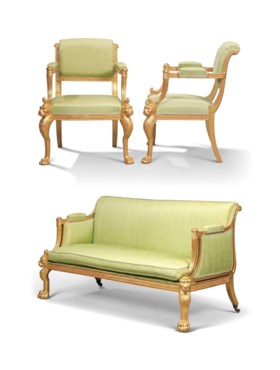 A REGENCY GILTWOOD SOFA AND PAIR OF OPEN ARMCHAIRS
