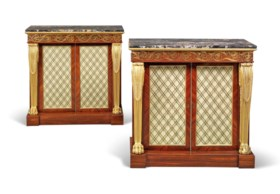 A PAIR OF REGENCY BRASS-INLAID AND PARCEL-GILT KINGWOOD SIDE