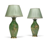 A PAIR OF VICTORIAN GREEN AND GILT-JAPANNED PAPIER MACHE VASES
