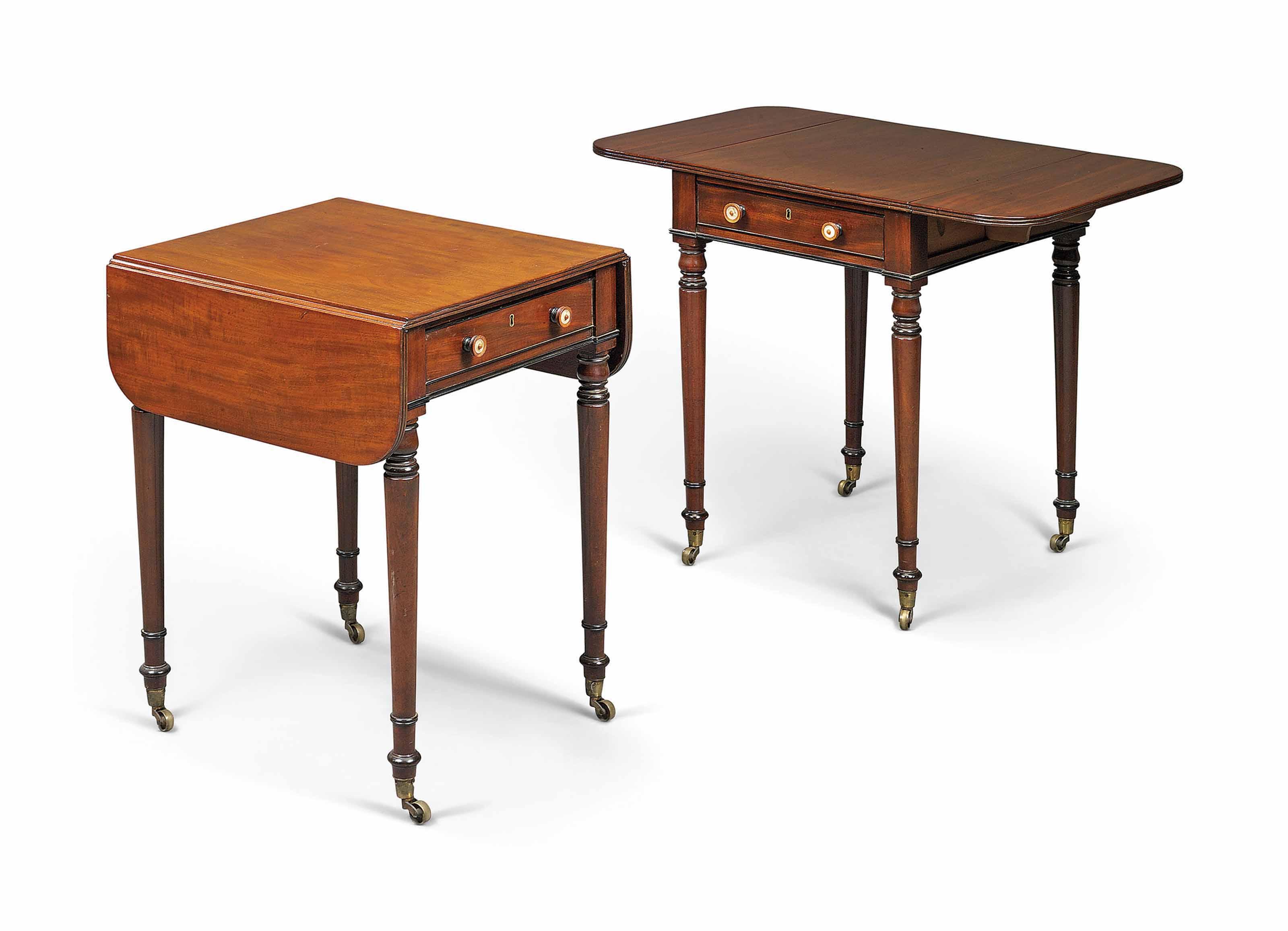 A PAIR OF GEORGE IV MAHOGANY, EBONY AND EBONISED PEMBROKE TABLES