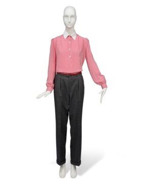 A RED AND WHITE STRIPED COTTON SHIRT AND GREY TROUSERS