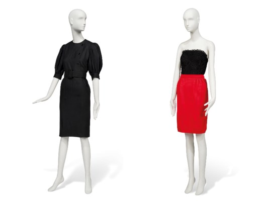 A BLACK LINEN DAY DRESS TOGETHER WITH A LACE BUSTIER TOP AND SCARLET KNITTED SKIRT