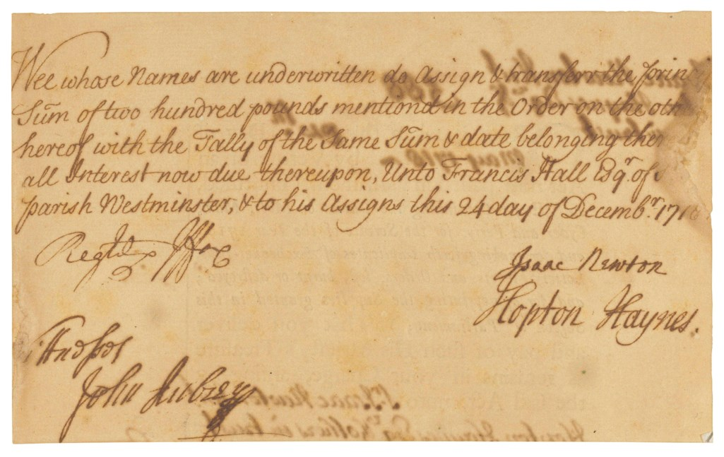 A signed document, repaying a loan