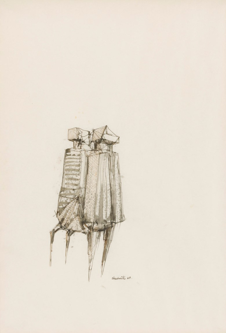 Lynn Chadwick, R.A. (1914-2003), Study for Two Watchers, 1960. Ink and wash on paper. 18⅝ x 13 in (47.3 x 33.1 cm). Sold for £7,500 on 23 November 2018 at Christie's Online.© Lynn Chadwick  Bridgeman Images