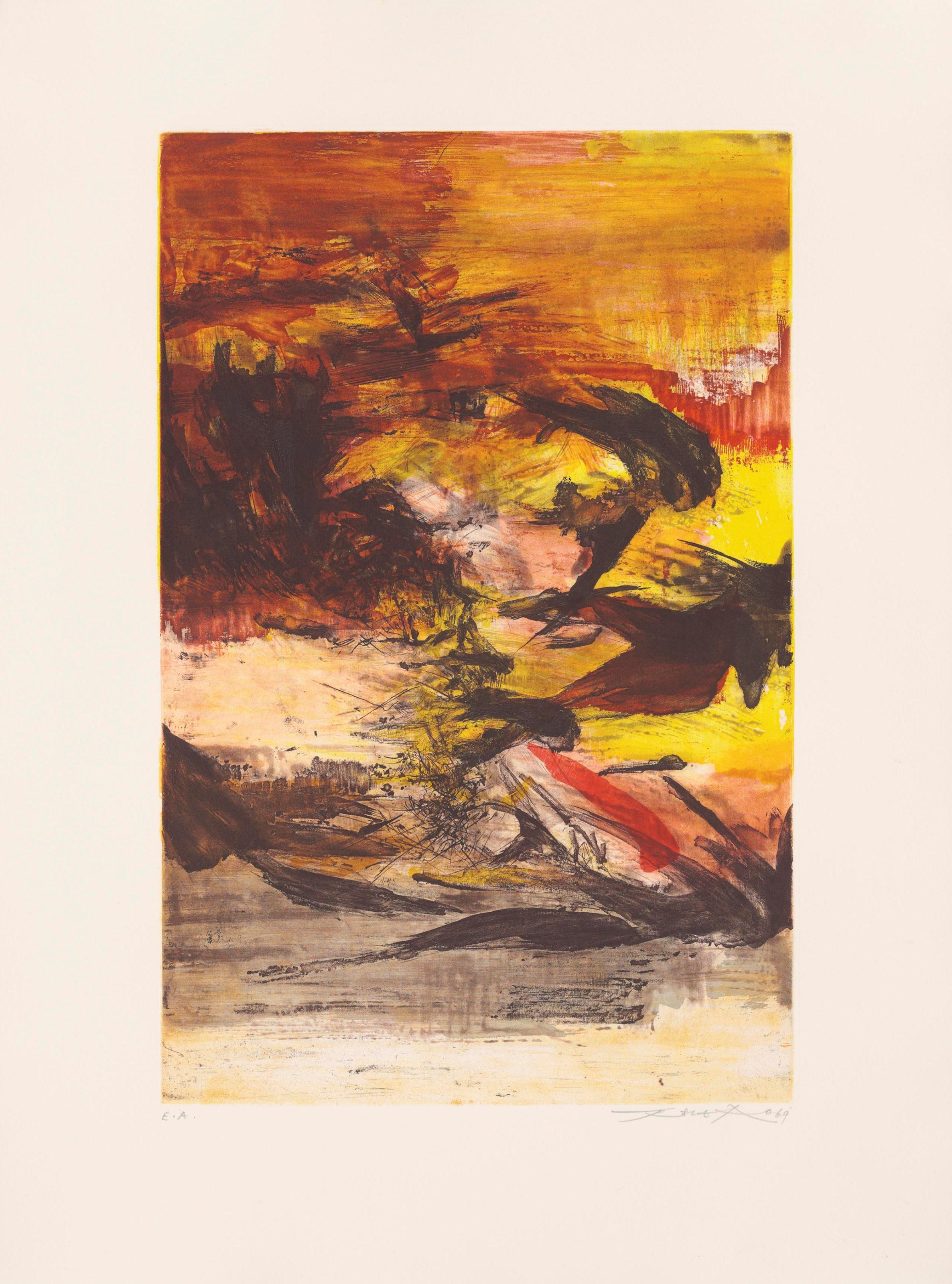 赵无极(1920-2013),《无题》,1969年作,估价:3,500-5,200英镑。拍品于2018年3月15至23日「赵无极版画及纸上作品」网上拍卖推出。