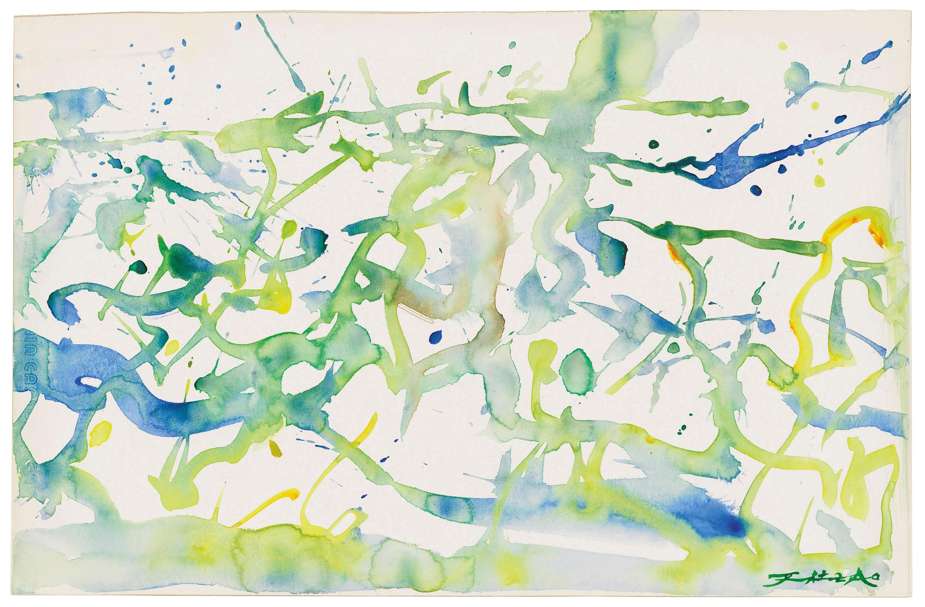赵无极(1920-2013),《无题》,2005年作,估价:22,000-30,000英镑。拍品于2018年3月15至23日「赵无极版画及纸上作品」网上拍卖推出。