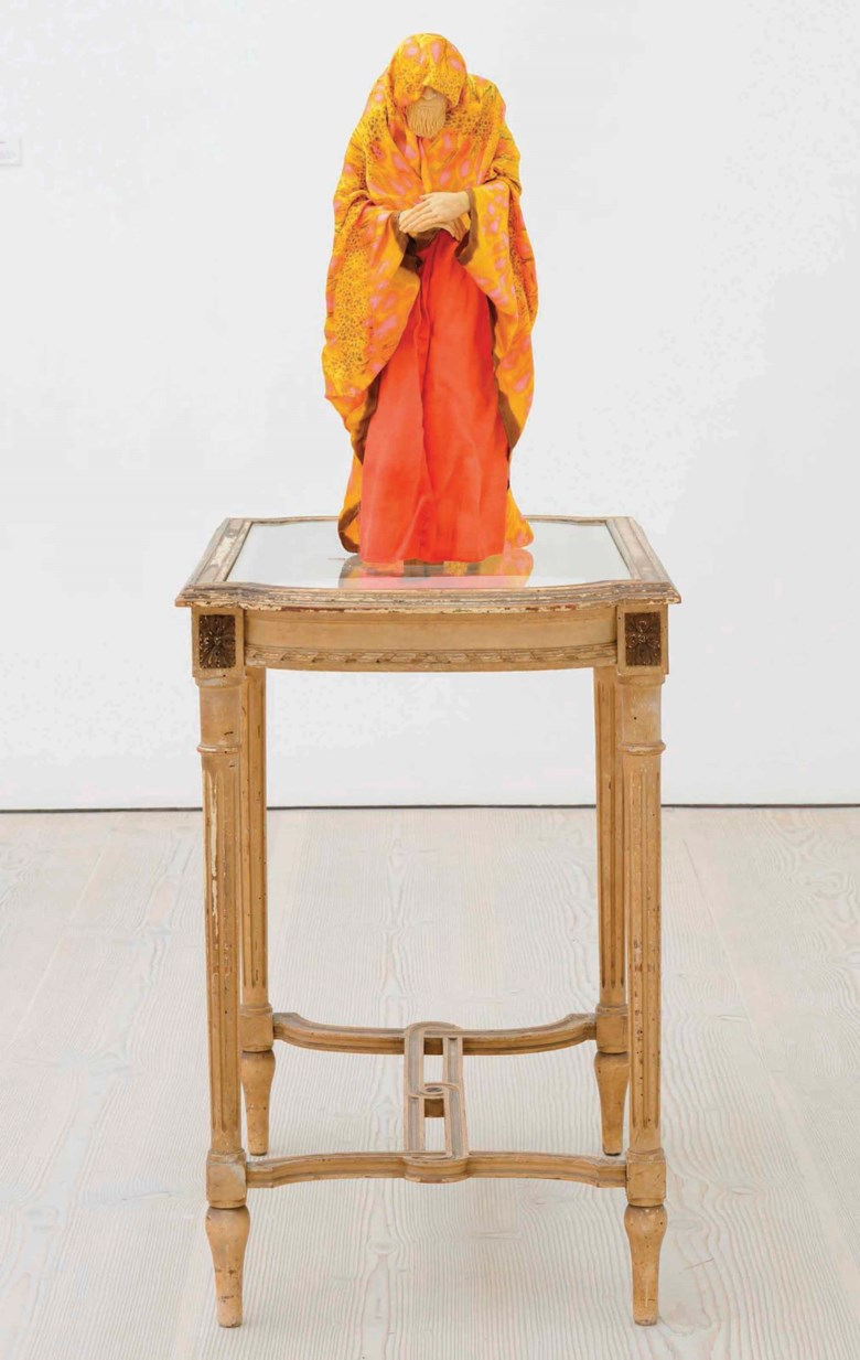 Francis Upritchard (b. 1976), The Misanthrope, executed in 2011. Table 80 x 80 x 53 cm. Estimate £12,000-18,000. Offered in Handpicked 50 Works Selected by the Saatchi Gallery on 28 June 2018 at Christie's in London