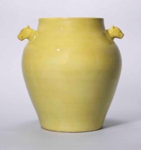 A RARE YELLOW-GLAZED TWIN-HANDLED JAR