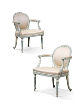 A PAIR OF GEORGE III WHITE AND BLUE-PAINTED ARMCHAIRS