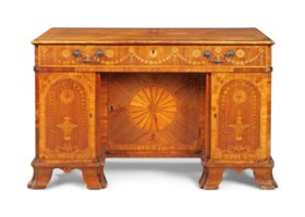 A GEORGE III INDIAN ROSEWOOD, FUSTIC, TULIPWOOD AND MARQUETR