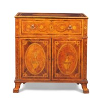 A GEORGE III INDIAN ROSEWOOD, FUSTIC, TULIPWOOD AND MARQUETRY SECRETAIRE-CHEST