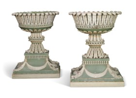 A PAIR OF GEORGE III GREEN AND WHITE-PAINTED FLOWER-STANDS