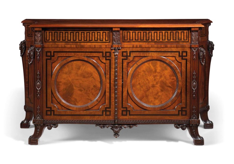 A George III mahogany and Indian ebony commode, by Thomas Chippendale, circa 1766-69. 35  in (89  cm) high; 62½  in (158.5  cm) wide; 23  in (58.5  cm) deep. Estimate £3,000,000-5,000,000. Offered in Thomas Chippendale 300 Years on 5 July 2018 at Christie's in London