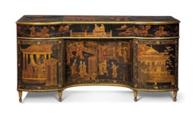 A GEORGE III CHINESE LACQUER AND JAPANNED SMALL PIANO FORTE