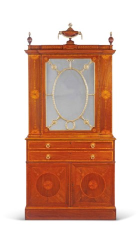 A GEORGE III PARCEL-GILT, PADOUK AND MARQUETRY SECRETAIRE-CA