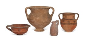 FOUR CYPRIOT POTTERY VESSELS