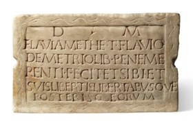 A ROMAN MARBLE FUNERARY TABLET
