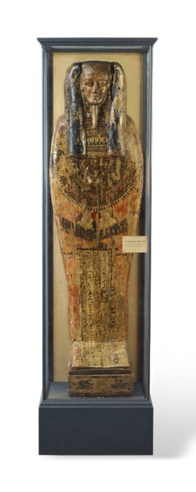 AN EGYPTIAN POLYCHROME PAINTED WOOD COFFIN LID FOR KANEFER