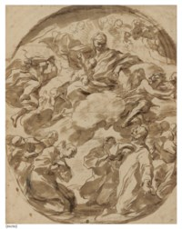 The Madonna in Glory (recto); Studies of heads and drapery (verso)