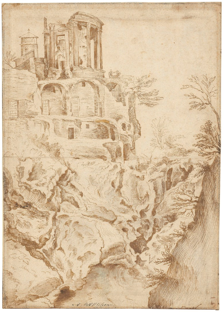 Jan Brueghel the Elder (1568-1625), The Temple of Vesta, Tivoli. 11⅜ x 8⅛  in (28.9 x 20.6 cm). Estimate £60,000-80,000. Offered in Old MastersNew Scholars Works of Art Sold to Benefit Rugby School on 4 December 2018 at Christie's in London