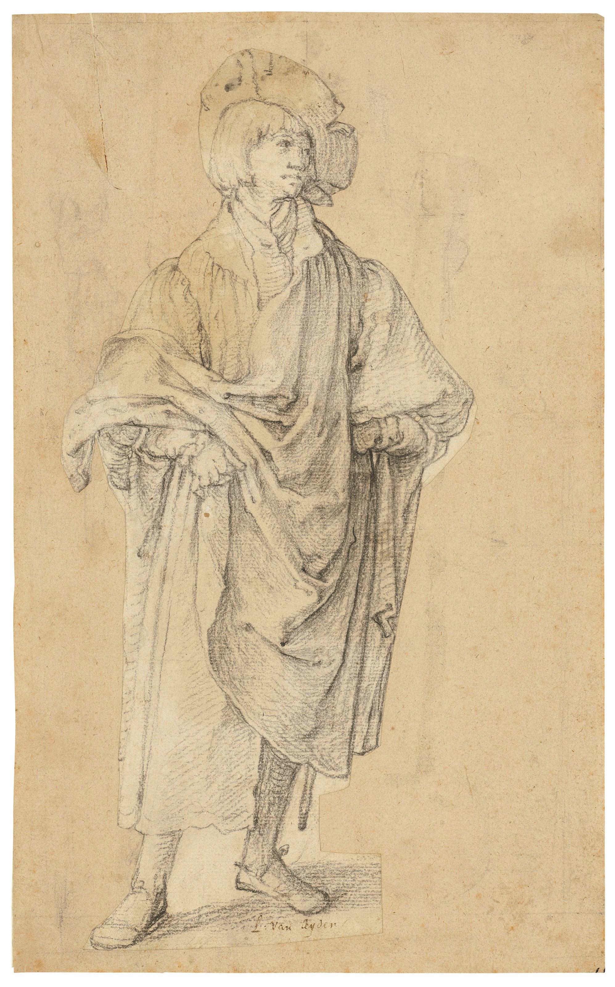 卢卡斯·范·莱顿(14891494-1533),《站立的年轻人》,11 x 5⅛ 吋(27.9 x 13.2公分)。此拍品于2018年12月4日在佳士得伦敦以11,483,750英镑成交。