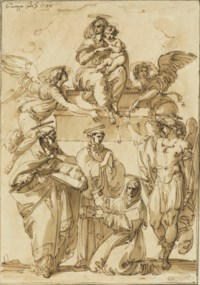 The Virgin and Child seated on a plinth supported by angels, Saint Michael and other saints below