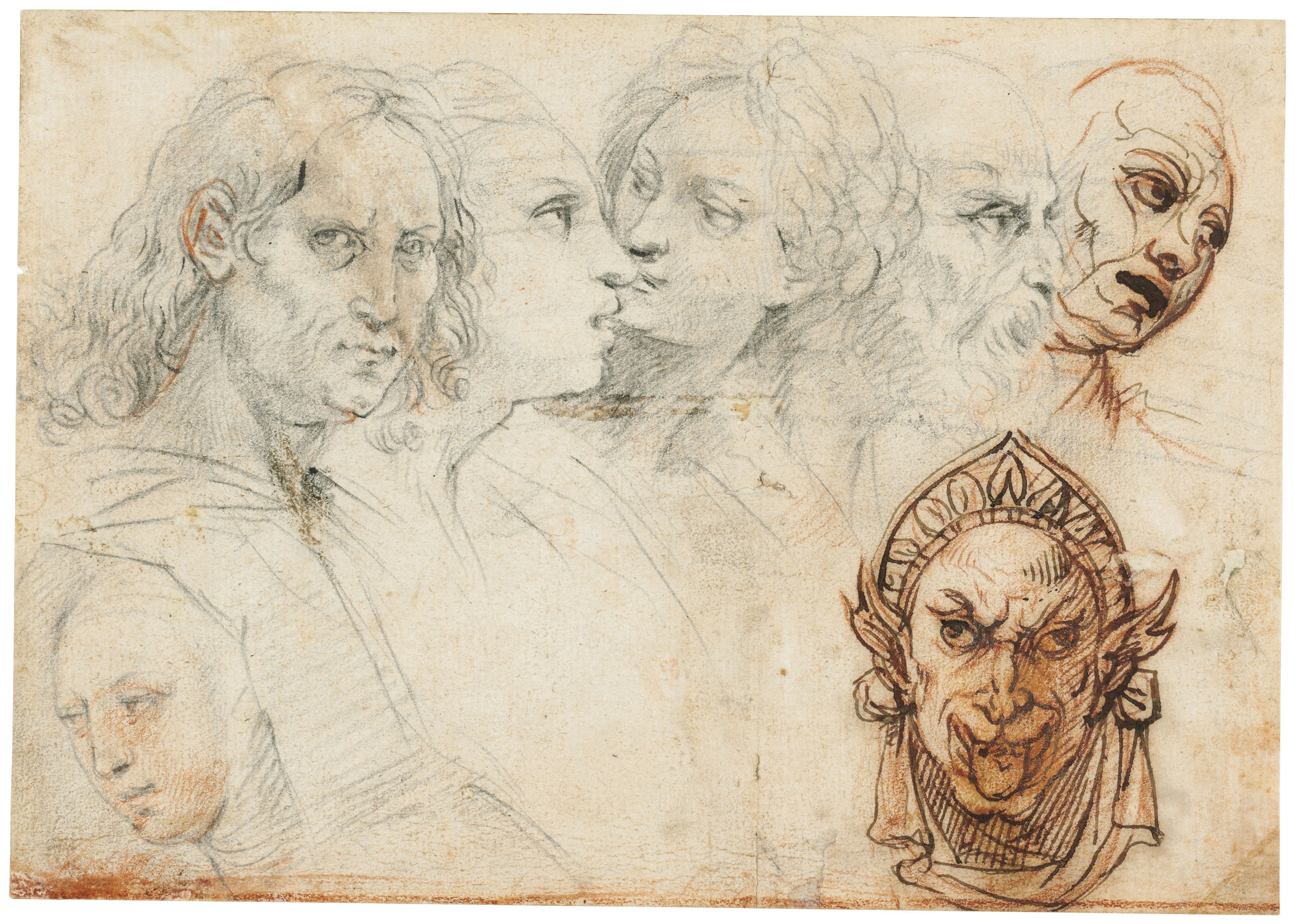 Studies of six heads, and a grotesque