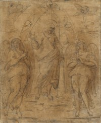 Christ in a mandorla flanked by two angels