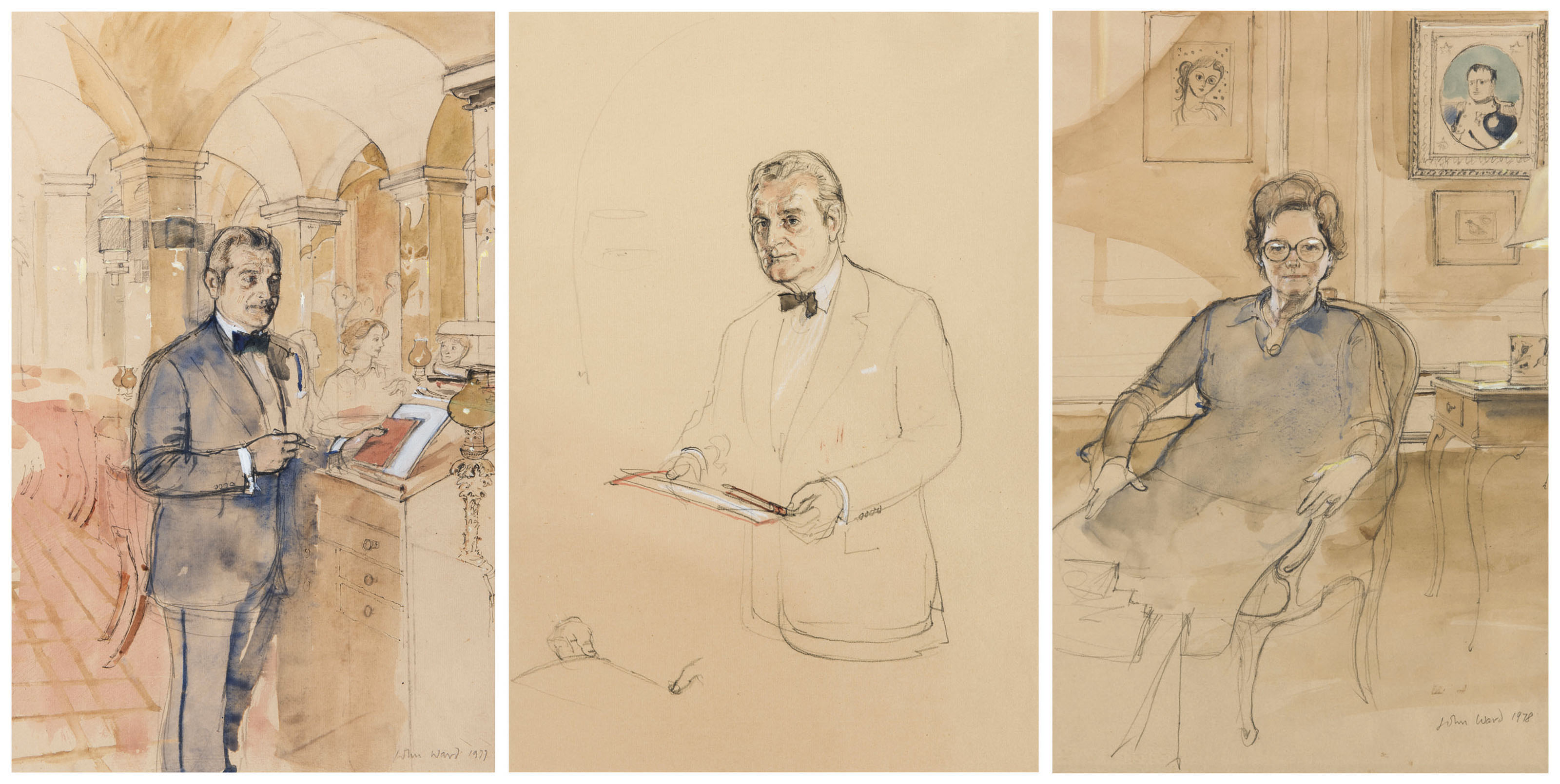 Louis Emanuelli, General Manager and Director 1963-1992 (i); Louis Emanuelli, study for 'The Founder Members of Annabel's' (ii); Mabel James (iii)
