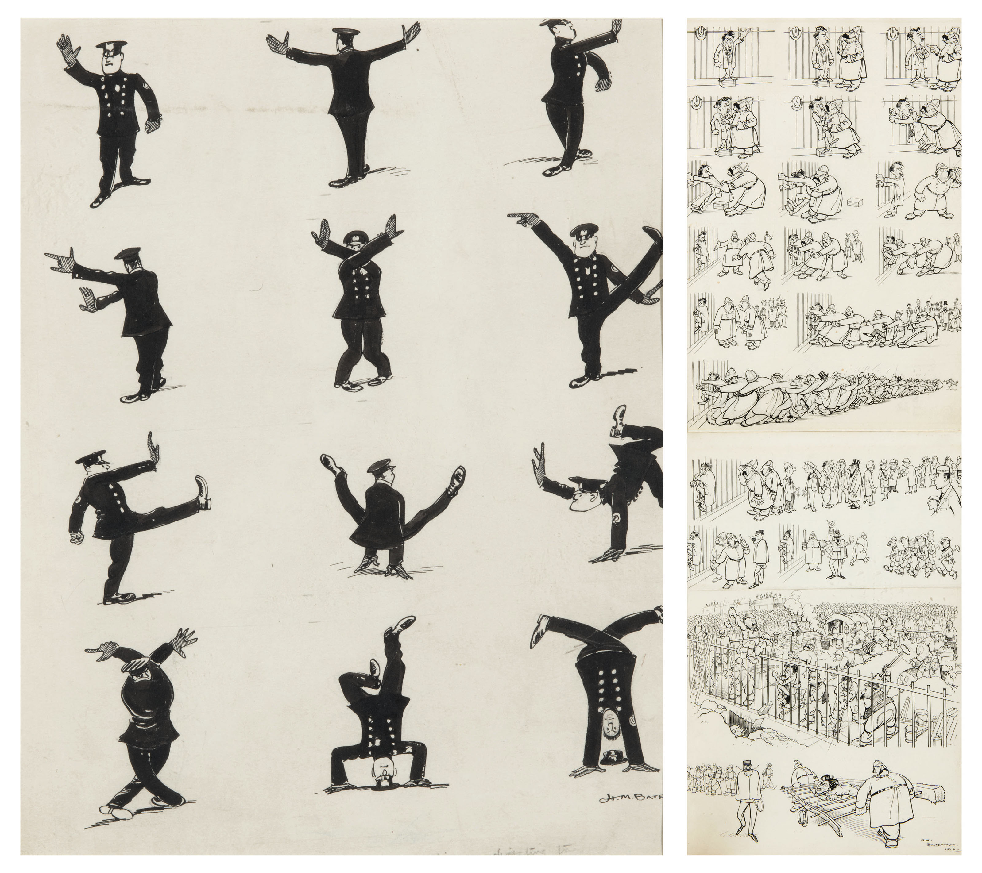 Impressions of a New York policeman directing traffic (i); and The Prisoner, when arrested, clung to the railings (ii)