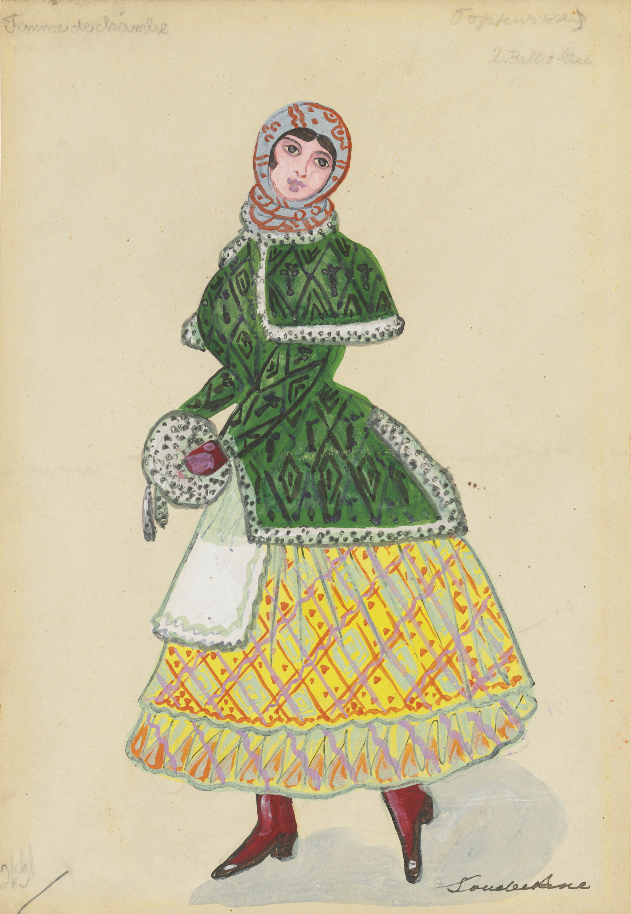 Costume design for 'Petrouchka': Femme de chambre