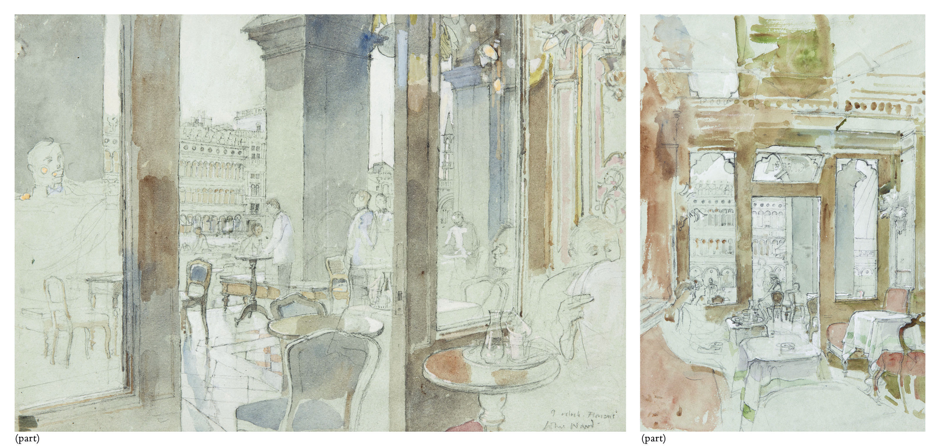 9 o'clock, Florian's (i); Interior of Florian's looking out onto St Mark's Square (ii); Interior of Florian's with figures at tables (iii); The terrace outside Florian's (iv); Figures seated at a table (v)