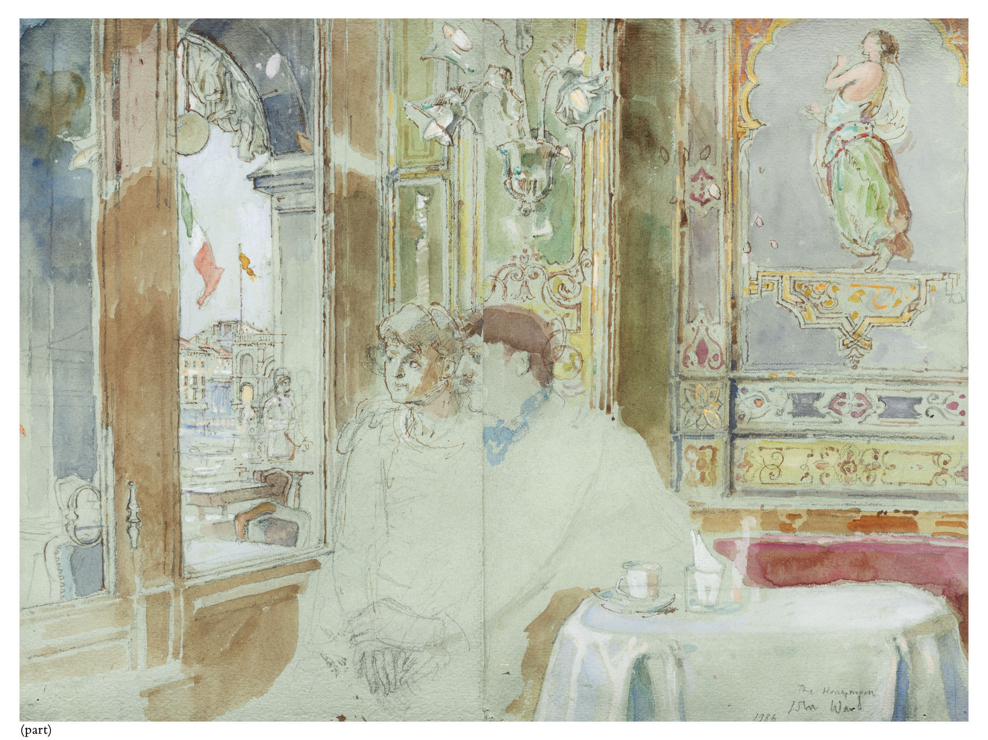 The honeymoon (i); A couple seated outside Florian's (ii); Interior of Florian's with portraits on the walls and umbrella stand (iii)