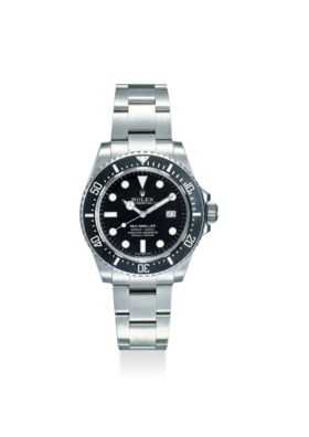 ROLEX AN ATTRACTIVE AND FINE STAINLESS STEEL AUTOMATIC WRISTWATCH WITH BRACELET,