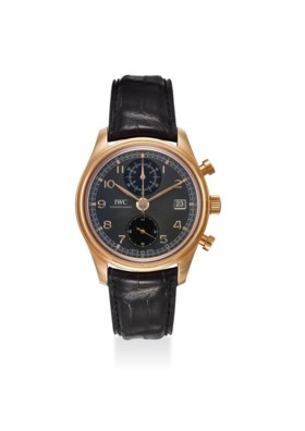 IWC AN EXTREMELY FINE 18K ROSE GOLD CHRONOGRAPH AUTOMATIC WRISTWATCH WITH DATE,