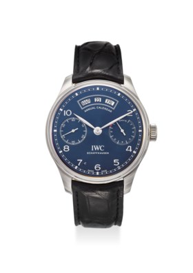 IWC AN EXTREMELY FINE STAINLESS STEEL ANNUAL CALENDAR AUTOMATIC WRISTWATCH WITH