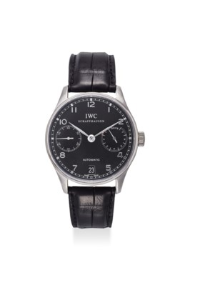 IWC AN EXTREMELY FINE STAINLESS STEEL AUTOMATIC 7-DAY POWER RESERVE WRISTWATCH W