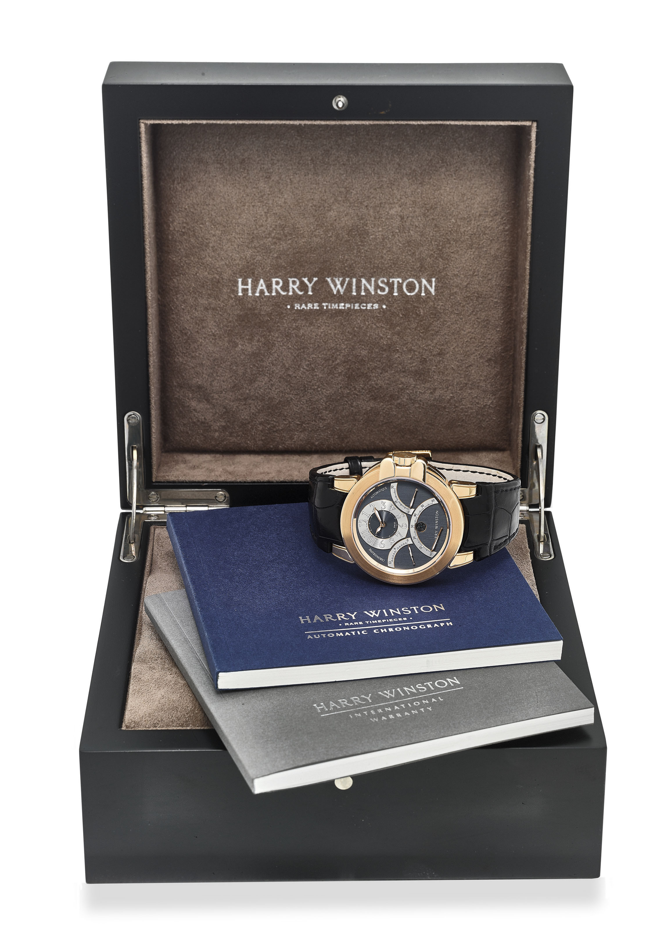 release date bd1df e9ffd HARRY WINSTON. AN EXTREMELY FINE 18K ROSE GOLD TRIPLE RETROGRADE ...