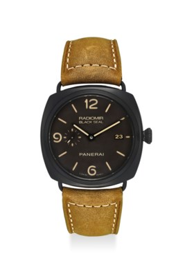PANERAI AN EXTREMELY FINE BLACK CERAMIC AUTOMATIC WRISTWATCH WITH SECOND, DATE,