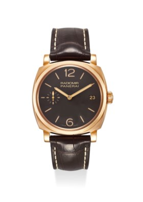 PANERAI AN EXTREMELY FINE 18K ROSE GOLD MANUAL WIND WRISTWATCH WITH SECOND, DATE