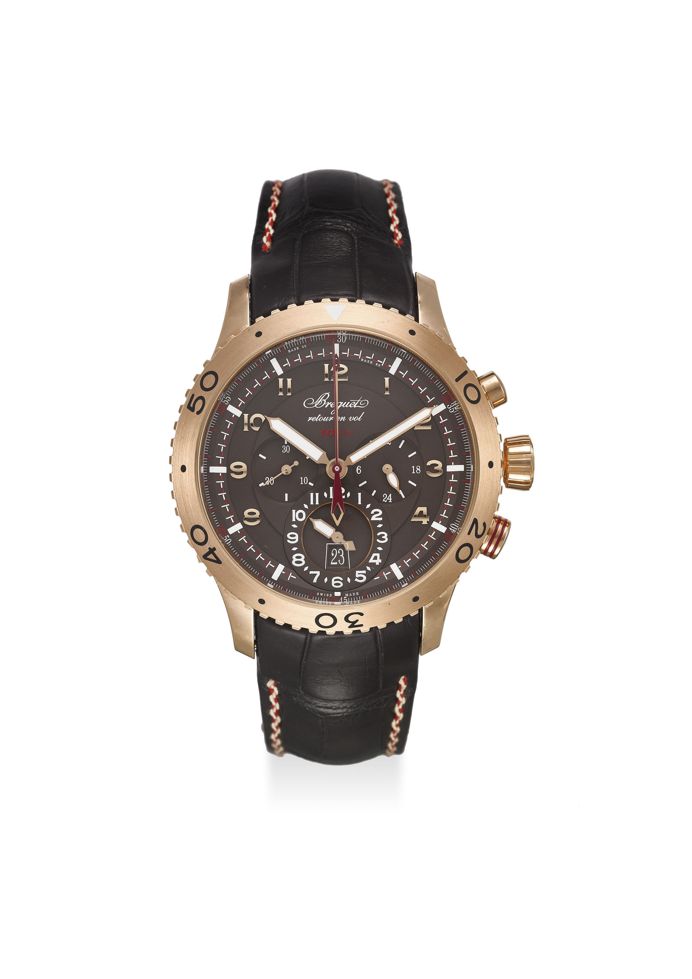 BREGUET. AN EXTREMELY FINE 18K ROSE GOLD CHRONOGRAPH DUAL TIME AUTOMATIC WRISTWATCH WITH DATE, ORIGINAL CERTIFICATE AND BOX