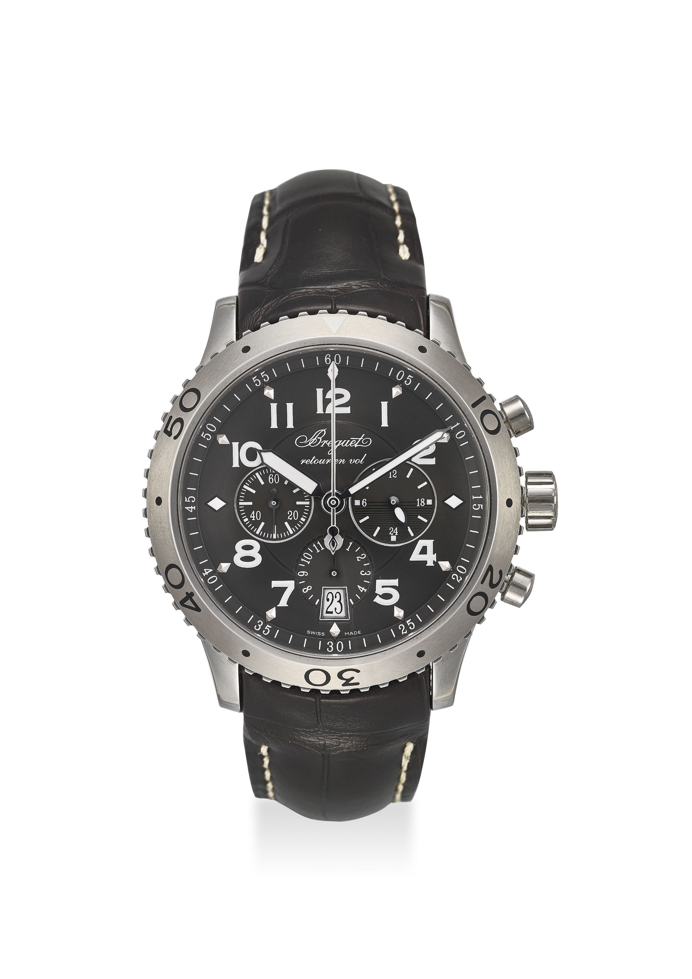BREGUET AN EXTREMELY FINE STAINLESS STEEL AUTOMATIC CHRONOGR...