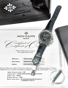 PATEK PHILIPPE AN IMPRESSIVE AND VERY RARE PLATINUM AND SAPP