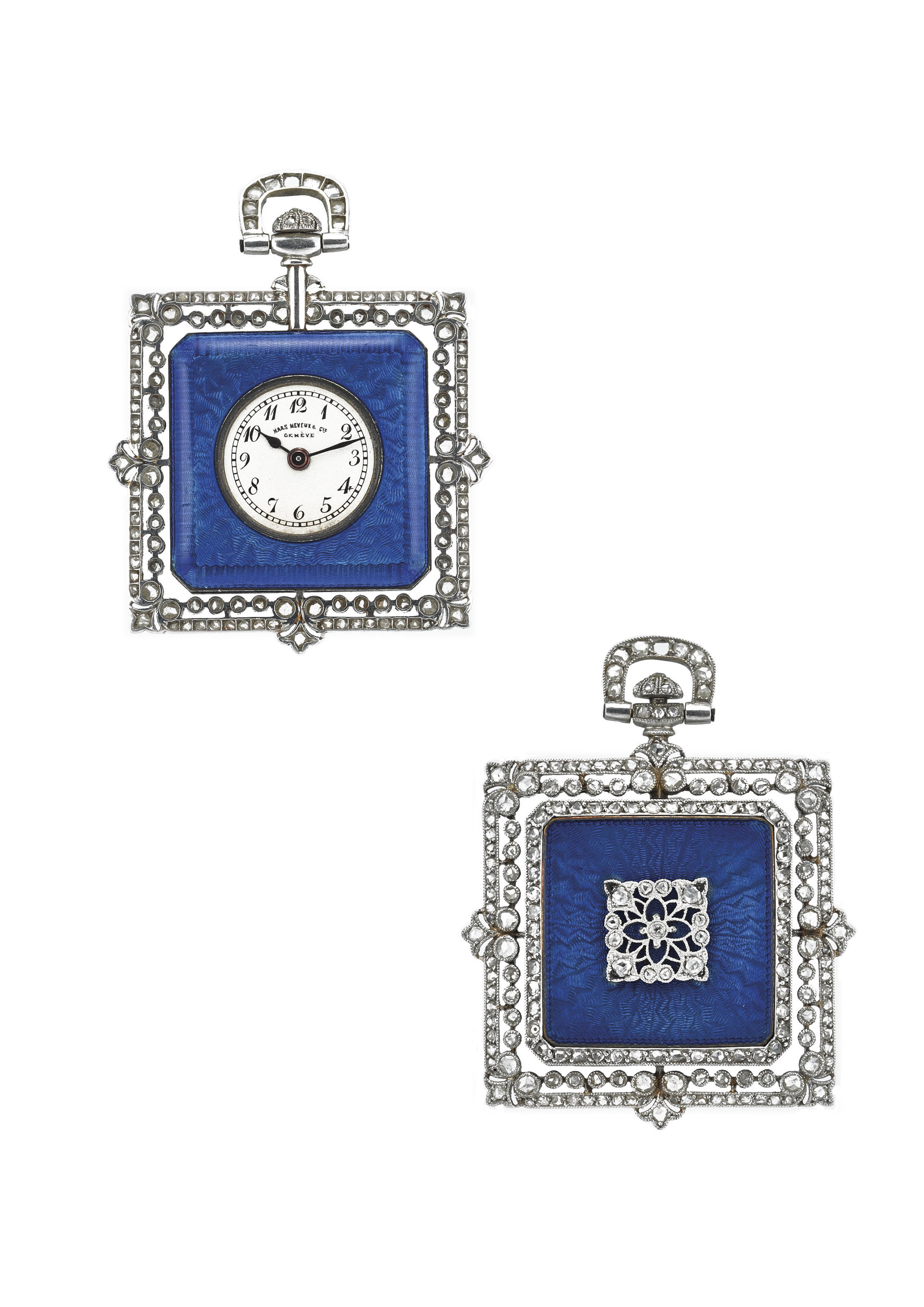 HAAS NEVEUX & CIE. A VERY FINE AND RARE 18K WHITE GOLD, ENAMEL AND DIAMOND-SET KEYLESS PENDANT WATCH
